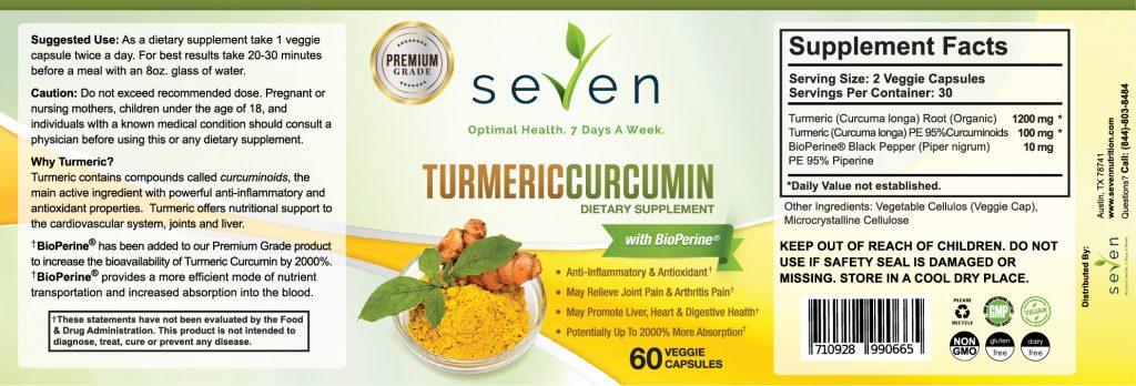 Seven Nutrition Turmeric Curcumin Label