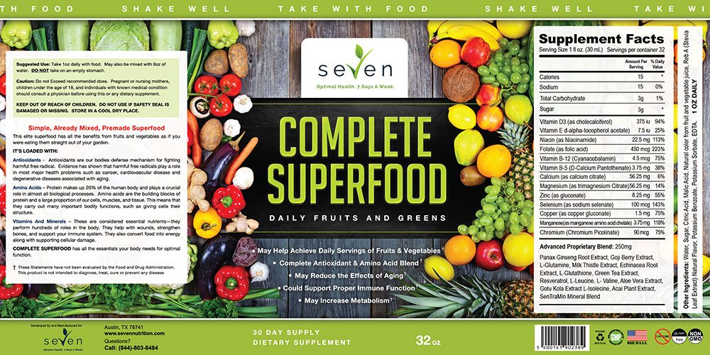 Seven Nutrition Complete Superfood Label