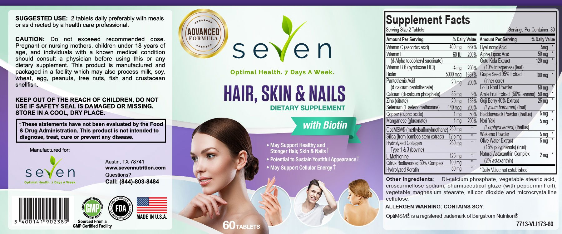 Hair Skin and Nails Supplement Facts